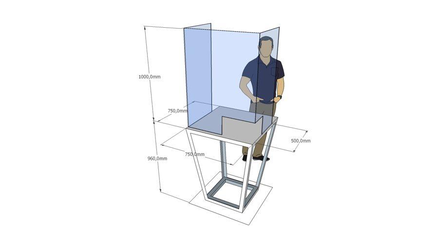 Free standing U shape PMMA Acrylic Sheet Table Separator Acrylic Shield
